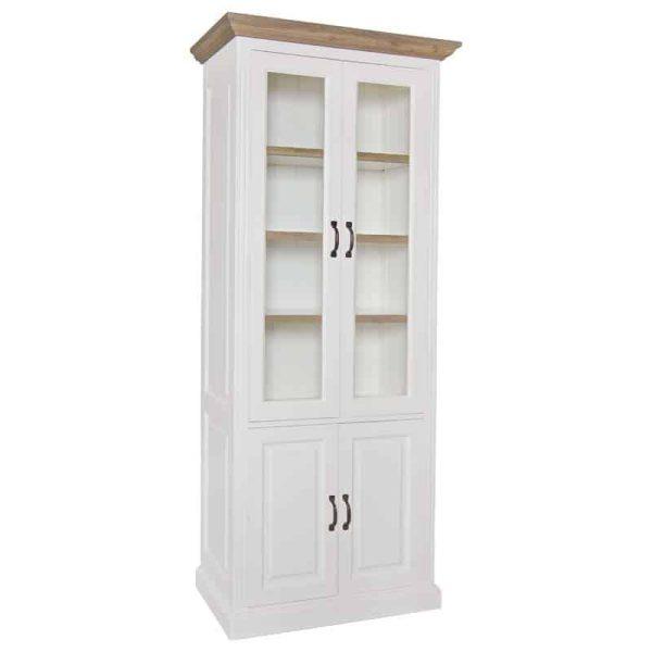 6145 RAL9010 - Vitrine Oakdale 2x2-deuren 3-planken (Ral 9010)