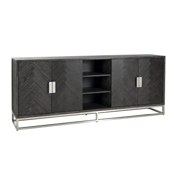 7416 - Dressoir Blackbone silver 4-deuren + open vak (Zilver)