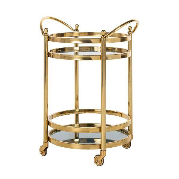 9422 - Trolley Hendricks rond goud met glas (Goud)
