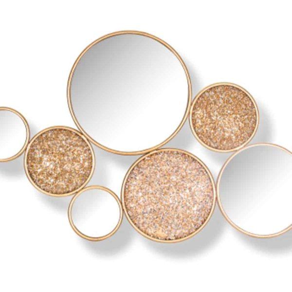-MI-0037 - Spiegel Isaiha met 4 ronde spiegels (Goud)