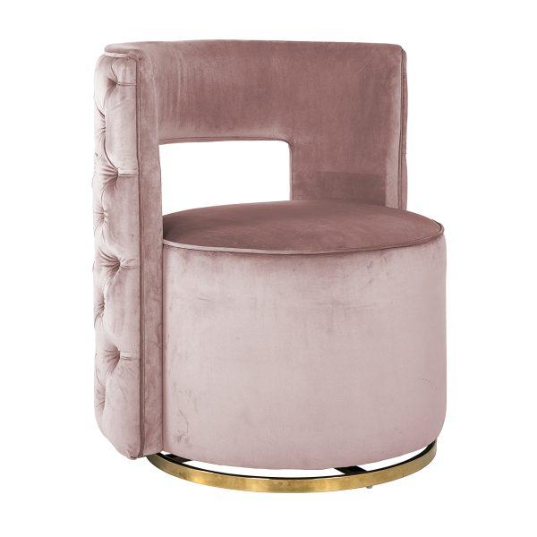 S4446 PINK VELVET - Draaifauteuil Jamie Pink velvet / gold (Quartz Pink 700)