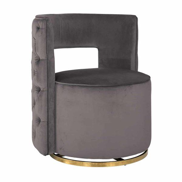 S4446 STONE VELVET - Draaifauteuil Jamie Stone velvet / gold (Quartz Stone 101)