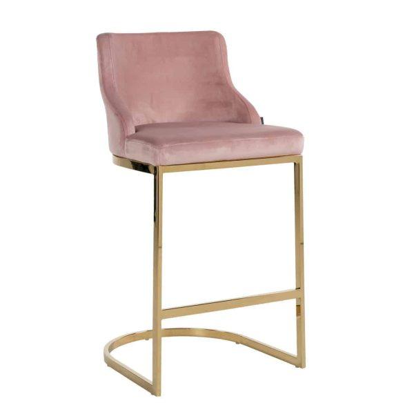 S4460 FR PINK VELVET - Barstoel Bolton Pink velvet / gold Fire Retardant (Quartz Pink 700)