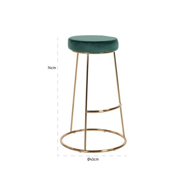 S4478 GREEN VELVET - Barstoel Brandy Green Velvet / goud (Quartz Green 501)