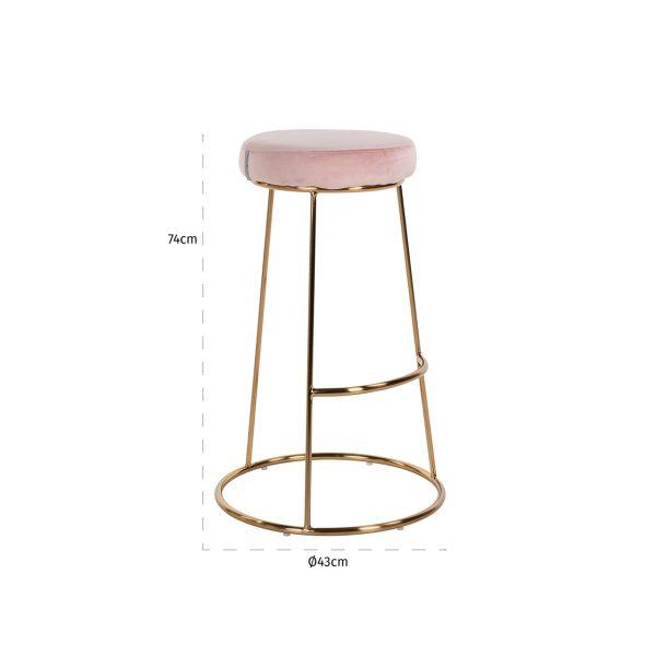 S4478 PINK VELVET - Barstoel Brandy Pink Velvet / goud (Quartz Pink 700)