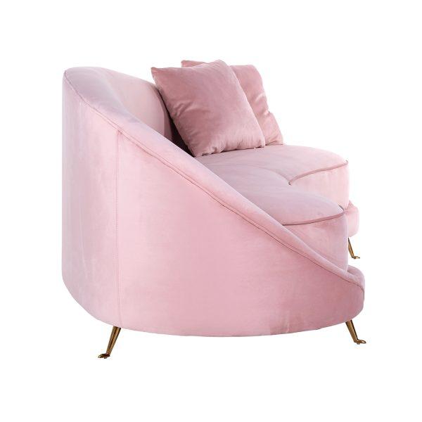 S5122 PINK VELVET - Bank Bourbon met 2 kussens Pink Velvet / gold (Quartz Pink 700)