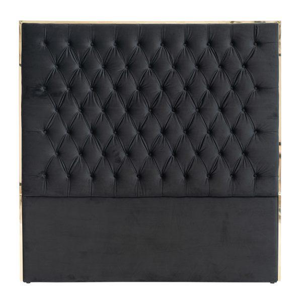 S6003 BLACK VELVET - Hoofdbord Lowell 180x180 Black velvet / goud (Goud)