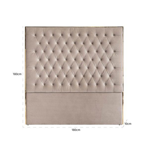 S6003 KHAKI VELVET - Hoofdbord Lowell 180x180 Khaki velvet / goud (Goud)