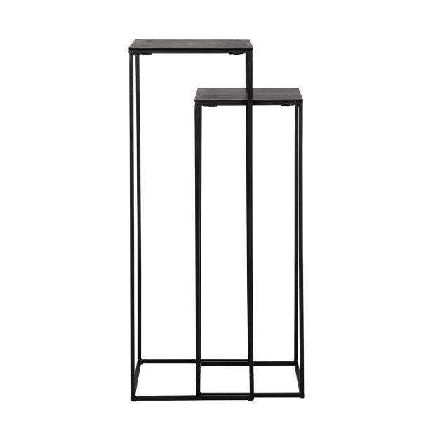 825076 - Pilaar Bolder set van 2 aluminium zwart (Zwart)