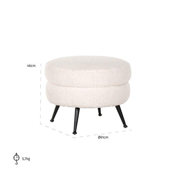 S4521 WHITE - Poef Amelia White Faux Sheep / Black (Faux Sheep 313-2)