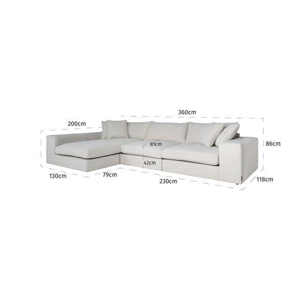 S5127 WHITE BOUCLÉ - Bank Juniper 3-zits + Lounge links/rechts White (Copenhagen 900 Bouclé White)