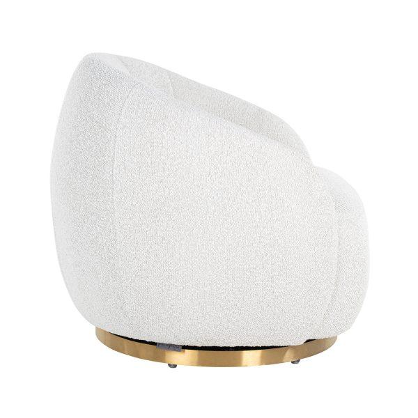 S4530 WHITE BOUCLÉ - Draaifauteuil Jago White Bouclé / Brushed gold (Copenhagen 900 Bouclé White)